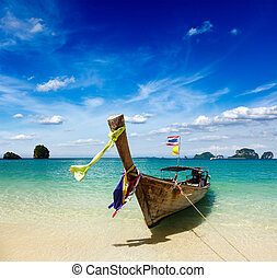 Long tail boat on beach, Thailand - Long tail boat on...