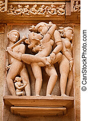 Erotic sculptures, Khajuraho, India - Famous erotic stone...