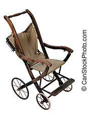 Old vintage styled baby carriage-stroller on white...