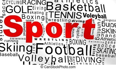Sport flag - Sport oriented words on a white animated flag...