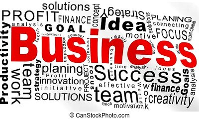 Business flag - Business oriented words on a white animated...