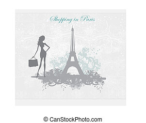 fashion girl Shopping in Paris