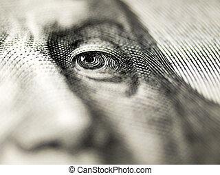 Dollar bill closeup shot.