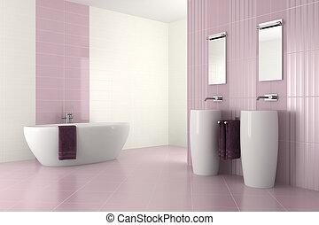 purple bathroom with double basin - purple modern bathroom...