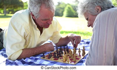 Retired people playing chess on the ground in a park