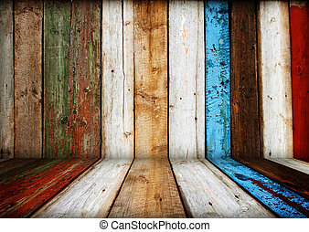 painted multicolored wooden room interior