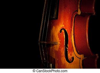 violín, detalle, silueta