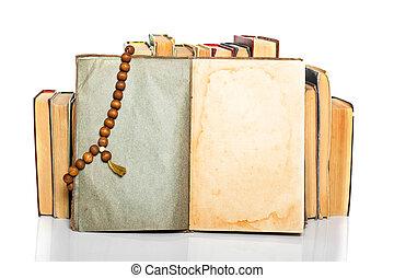 gammal, bok, öppna, radband
