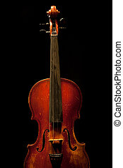 vintage violin detail isolated on black