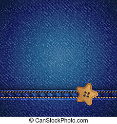 denim vector background - denim and star sewing button,...