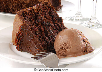 Chocolate cake and ice cream - A slice of rich chocolate...