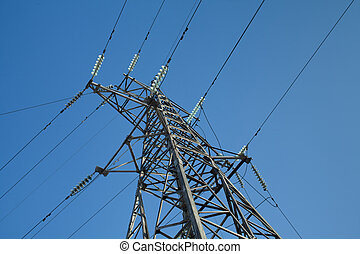 transmission tower - high-voltage wires on a background of...