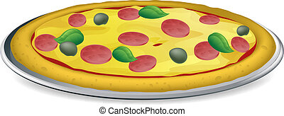 Pizza illustration - Illustration of a tasty looking...