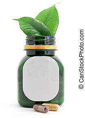 Capsules Pills Bio and Bottle with green leaf