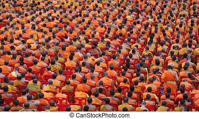 Monk Mass Alms Giving in Bangkok - Monks are participating...