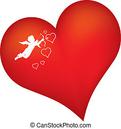 red heart with cupid silhouette - red heart with cupid...
