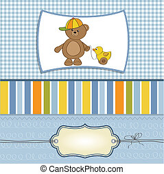 cute greeting card with boy teddy bear