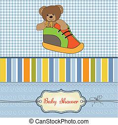 shower card with teddy bear