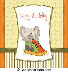 shower card with an elephant hidden