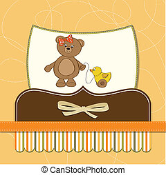 welcome baby card with girl teddy