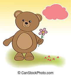 happy birthday card with teddy bear