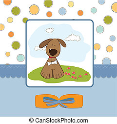 childish greeting card with dog
