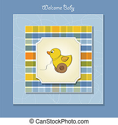 welcome baby card with duck toy