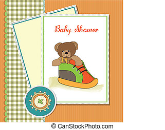 baby shower card with teddy bear hi