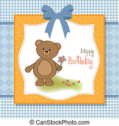 happy birthday card with teddy bear and flower
