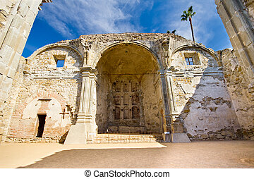 Mission San Juan Capistrano - Great Stone Church at historic...