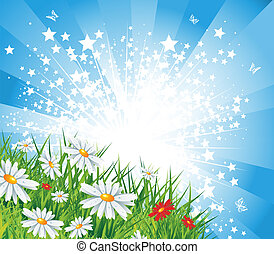 Summer lanscape - Summer landscape with star burst, eps10...