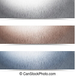 Rusted metallic banners - metallic banners set, eps10 vector...