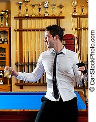 billiard, guapo, joven, hombre, camisa, señal,...