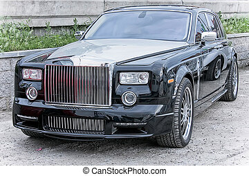 Car rich Rolls Royce Phantom - Black rich car supercar Rolls...