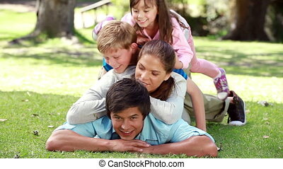 Family lying together on the lawn in a parkland
