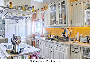 White Kitchen in Country Style - White kitchen in country...