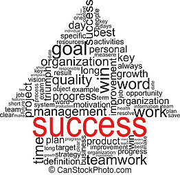Success concept related words in tag cloud. Arrow with...