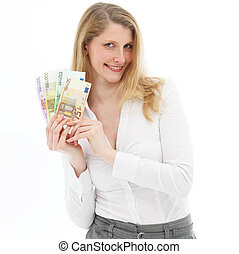 Successful woman showing winnings - Smiling successful woman...