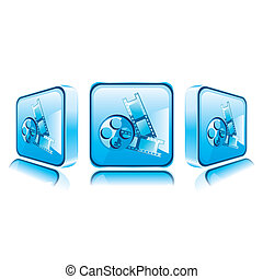 Application icons for Smart Phone isolated on white background.