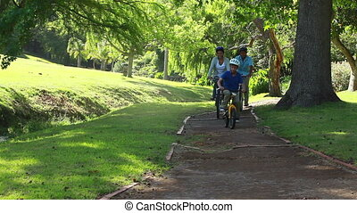 Happy family riding bikes on a pathway in a parkland