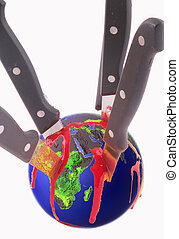 globe - An halved globe with knives and traces of blood