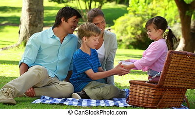 Happy family sitting on a blanket during a picnic in a...