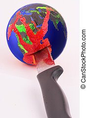 globe - An halved globe with a knife and traces of blood