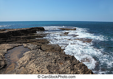 Picturesque coast of Mediterranean sea in the early spring....
