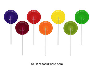 Lollipops - 3d render of assorted colored lollipops against...