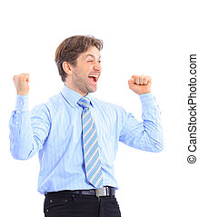 Happy business man with arms up isolated