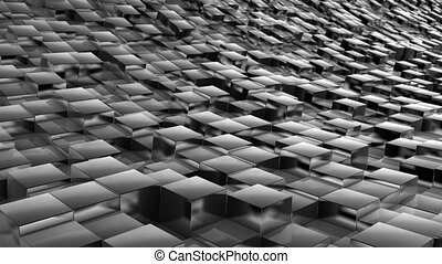 cube landscape metal - abstract background