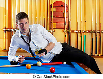 Billiard handsome player man drinking alcohol - Billiard...