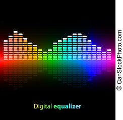 Colorful digital equalizer on black background Vector...
