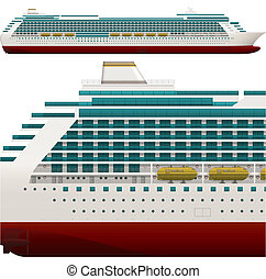 Ocean Ship - A side high detailed view of a large Passenger...